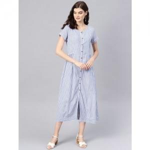 tulsattva gathered striped a-line dress