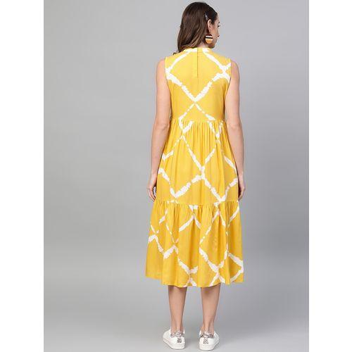 GERUA mock neck gathered hem a-line dress