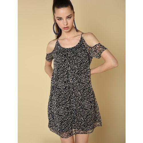 Spangles cold shoulder floral shift dress