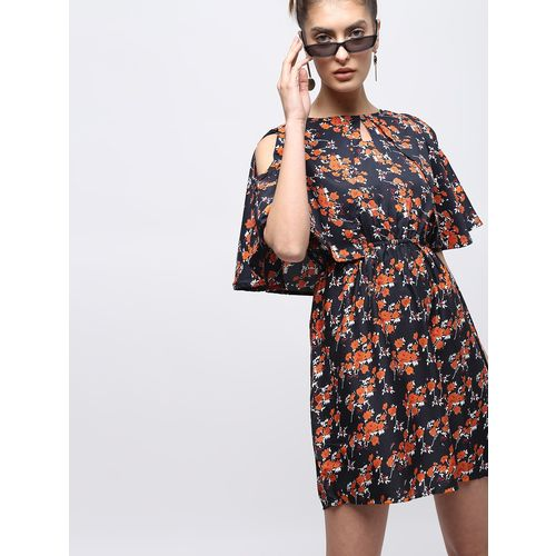 BLUE PIEGEON cape sleeved floral a-line dress