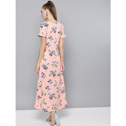 Trend Arrest frill detail front slit a-line dress