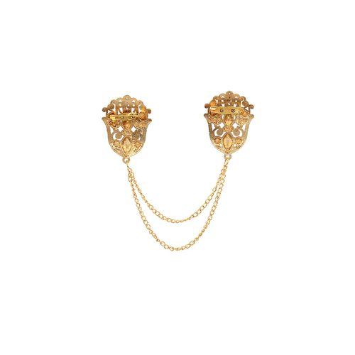 AJ Dezines black gold tone brooch