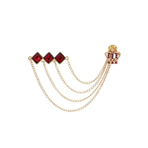 AJ Dezines red gold tone brooch