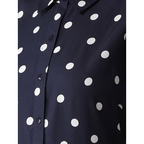 PLUSS polka dot shirt collar flared dress
