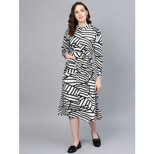 Myshka shirt collar striped a-line dress