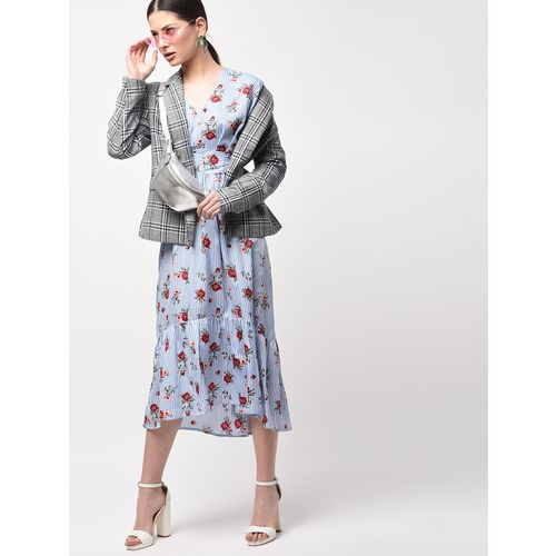 A K Fashion tie knot back floral high low dress