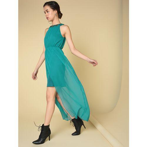 Spangles embellished neck a-line dress