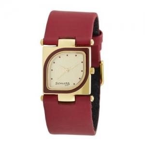 sonata yuva analog gold dial women's watch - nd8919yl04a