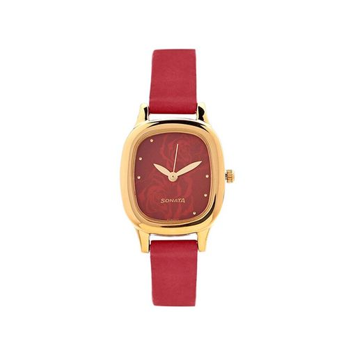 sonata red dial analog watch for women - 8060yl03