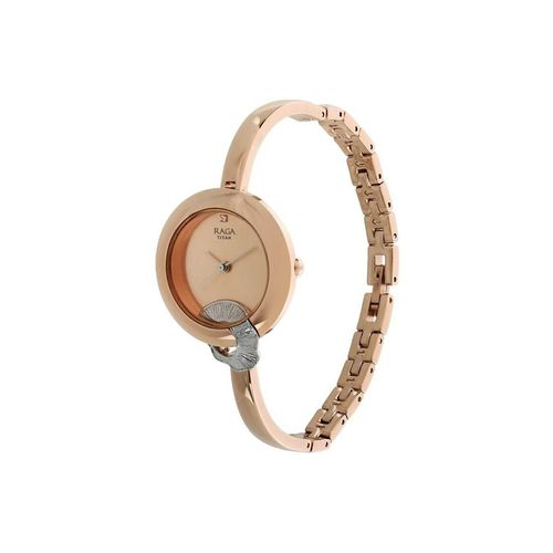 titan analog gold-colour dial women's watch-95051km03f
