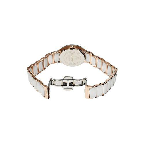 titan ceramic analog white dial women's watch -95016wd01