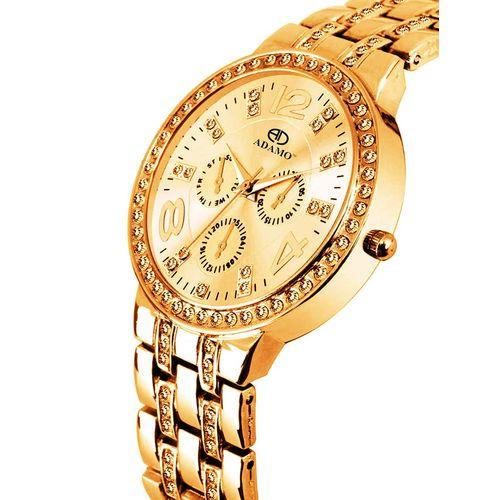 adamo designer gold dial women's & girl's watch 839yym04