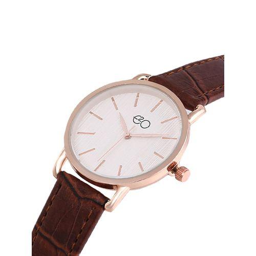 e2o round dial analog watch -(5650brown)