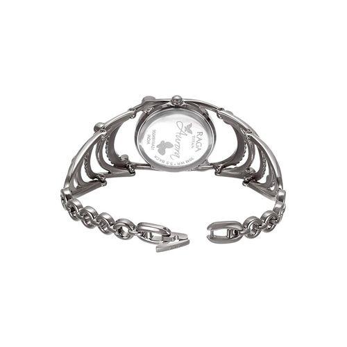 titan raga aurora analog silver dial women's watch-95049sm01