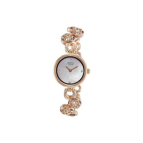 titan analog mother of pearl dial women's watch-nh311wm04