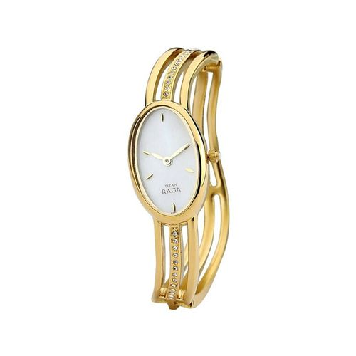 titan white dial analog watch for women - 9938ym01