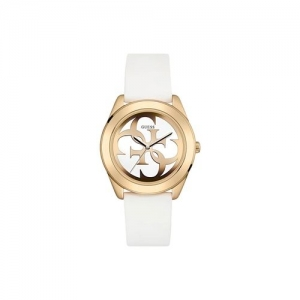 guess white dial analog watch for women - w0911l5