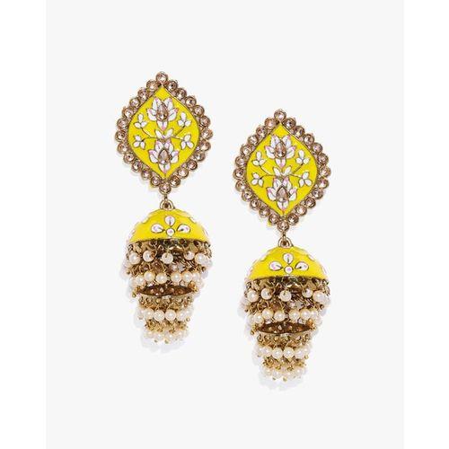 ZAVERI PEARLS Antique Enamel Jhumki Earrings - ZPFK8781