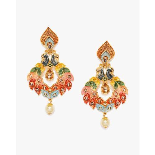 ZAVERI PEARLS Peacock Design Dangler Earrings - ZPFK8771