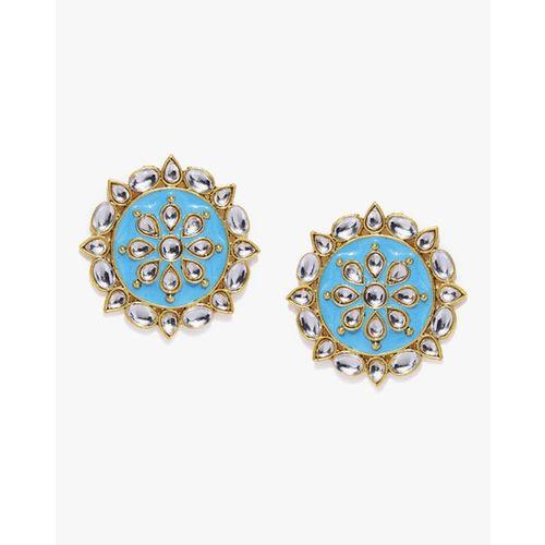 ZAVERI PEARLS Enamel Kundan Circular Stud Earrings - ZPFK8754