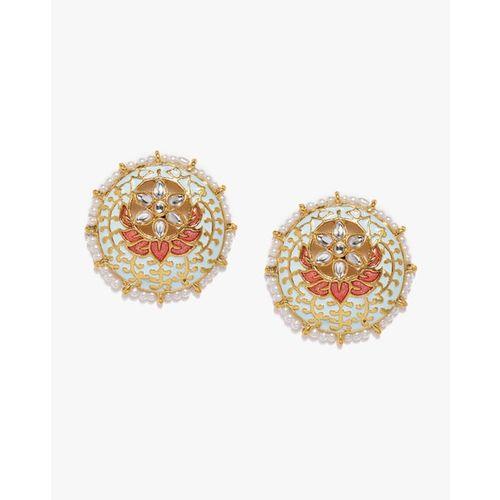 ZAVERI PEARLS Enamel Kundan & Pearl Circular Stud Earrings - ZPFK8747