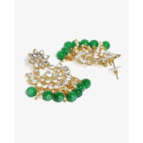 ZAVERI PEARLS Kundan & Dangling Green BeadsnDanglers-ZPFK9445
