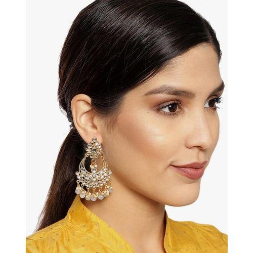 ZAVERI PEARLS Kundan & Dangling Beads Dangle Earrings-ZPFK9448
