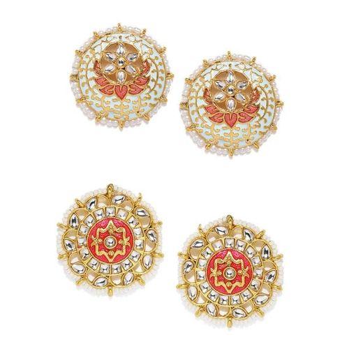 ZAVERI PEARLS Set of 2 Traditional Meenakari Pearl Stud Earrings - ZPFK9027