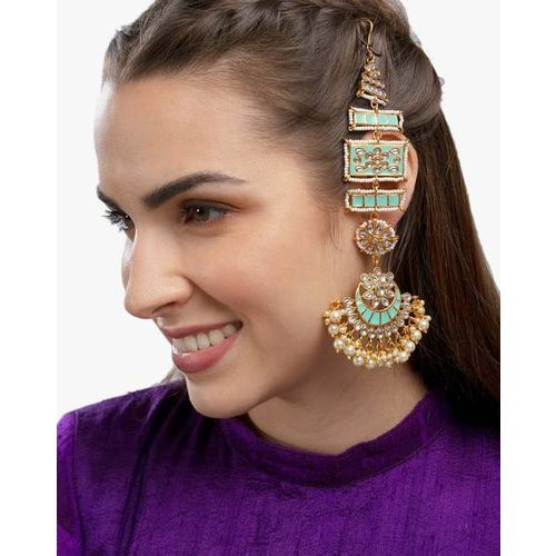 ZAVERI PEARLS Beautifully Enamelled Kundan Dangler Earrings - ZPFK9389