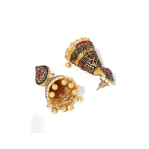 ZAVERI PEARLS Antique Gold-Toned Jhumkas ZPFK9128