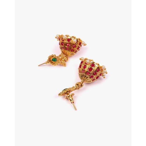 ZAVERI PEARLS Stone-Studded Jhumkas with Pearl Drops- ZPFK9492