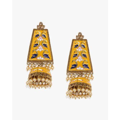 ZAVERI PEARLS Enamelled Peacock Inspired Jhumki Earrings-ZPFK8855