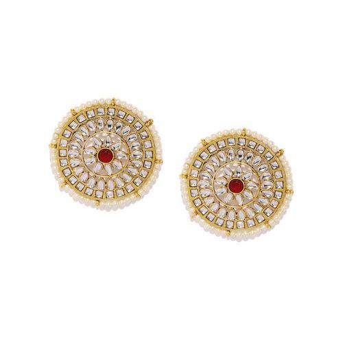 ZAVERI PEARLS Kundan & Pearl Embellished Circular Studs - ZPFK9082
