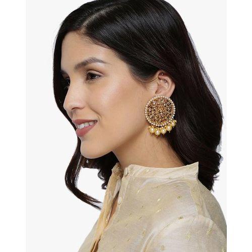ZAVERI PEARLS Traditional Dangling Pearl Drops Earrings-ZPFK8823