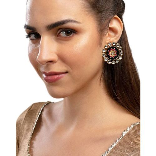 ZAVERI PEARLS Enamelled Kundan Stud Earrings - ZPFK9350