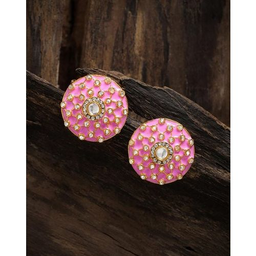 ZAVERI PEARLS Enamelled Kundan Stud Earrings-ZPFK8821
