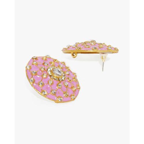 ZAVERI PEARLS Enamelled Kundan Stud Earrings-ZPFK8821