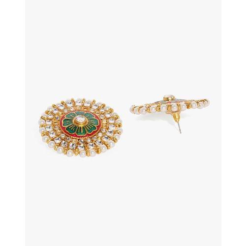 ZAVERI PEARLS Floral Enamelled Kundan & Pearls Stud Earrings-ZPFK8815