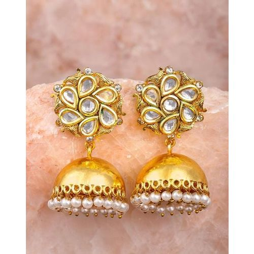 ZAVERI PEARLS Traditional Kundan & Pearls Jhumki Earrings-ZPFK8801