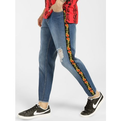 K Denim KOOVS Contrast Tape Cropped Slim Jeans
