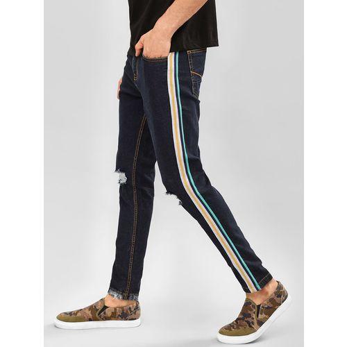 K Denim KOOVS Side Tape Distressed Slim Jeans