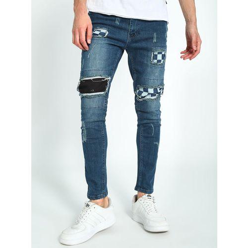 Kultprit Distressed Patch Mid-Wash Skinny Jeans