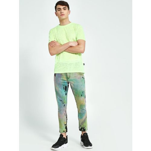 K Denim KOOVS Tie & Dye Cropped Slim Jeans