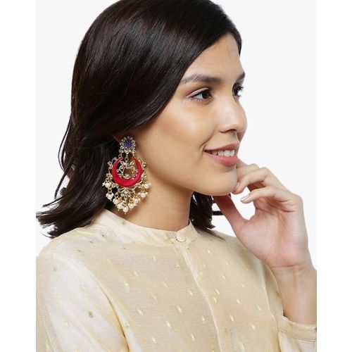 ZAVERI PEARLS Enamelled Kundan & Pearls Dangler Earrings-ZPFK8797