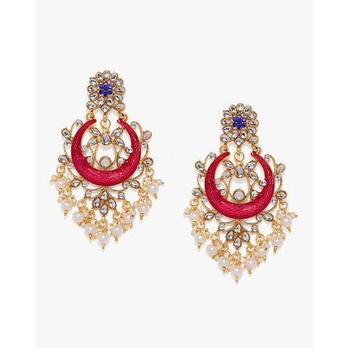 ZAVERI PEARLS Enamelled Kundan & Pearls Dangler Earrings-ZPFK8797