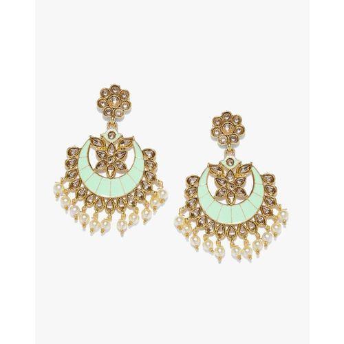 ZAVERI PEARLS Embellished with Stones & Meenakaari Dangler Earrings-ZPFK8796