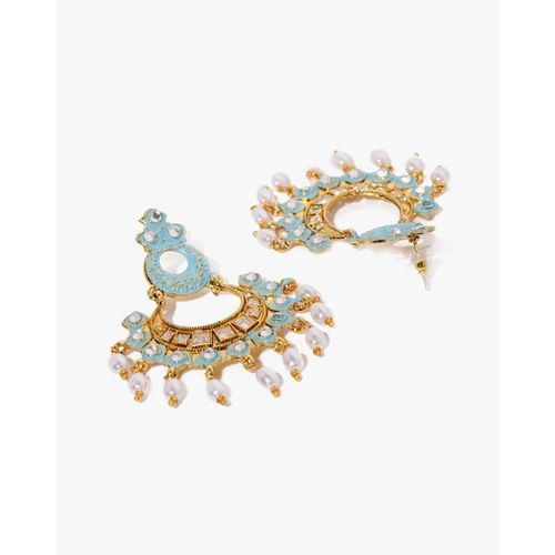 ZAVERI PEARLS Embellished Kundan & Meenakaari Dangler Earrings-ZPFK8795