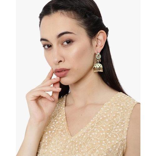 ZAVERI PEARLS Traditional Enamelled Kundan & Pearls Jhumki Earrings-ZPFK8790