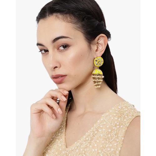 ZAVERI PEARLS Enamelled Kundan & Pearls Jhumki Earrings-ZPFK8789