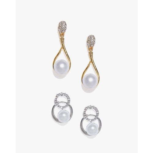 ZAVERI PEARLS Pack of 2 Pearl Studded Contemporary Style Drop Earrings -ZPFK8943